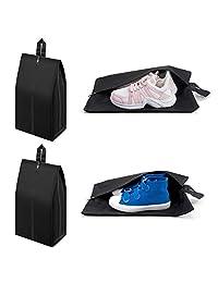 Cambond 旅行鞋袋 4 个装大号鞋袋男女防水尼龙鞋袋收纳袋带拉链封口(黑色)