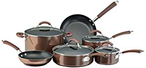 Farberware Millennium Nonstick Aluminum 12-Piece Cookware Set, Bronze