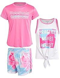 Reebok 锐步 女童 3 件套 运动 T 恤和短裤套装 - 瑜伽跑步短裤、背心和 T 恤套装