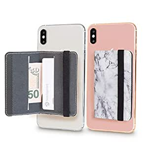 手机卡夹钱包手机袋,适用于 iPhone、Android 和所有带磁性的智能手机 白色大理石