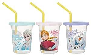 Skater斯凯达带吸管杯 3 个 安娜和冰雪女王 19 迪士尼 日本制造 230ml SIH2ST