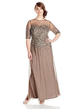 Adrianna Papell Women's Plus-Size 3/4 Illusion Sleeve Beaded Gown 铅色 20 Plus