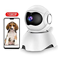 DEYAN 宠物摄像头,WiFi 狗摄像头,1080P 宠物监视器,FHD 室内猫摄像头,夜视运动跟踪和声音检测双向音频云服务