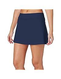 H HIAMIGOS 女式网球裙轻质运动短裙带口袋高尔夫运动健身裙跑步裙