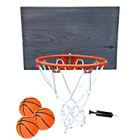 FATPLANTS 装饰性室内木制篮板带 9 英寸篮筐,3 个篮球和泵
