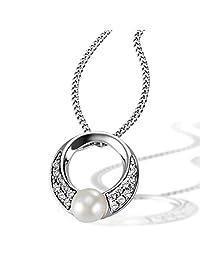 Goldmaid 亚马逊进口直采 德国品牌 女士 925纯银 女士项链 配镶嵌16颗白色方晶锆石单颗珍珠 女士吊坠 45厘米) Pe C6796S