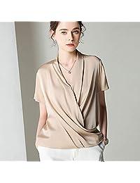 欧缕斯2019新款夏装女装桑蚕丝V领衬衣T恤上衣真丝衬衫女短袖杭州丝绸