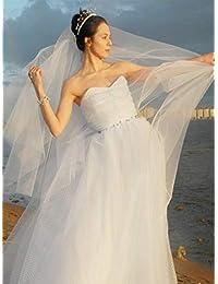 Unsutuo 婚礼头纱梳 2 层指尖 新娘头纱 象牙色 带切边 适合新娘