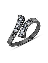 Gemstar Jewellery 时尚可调节趾戒 18K 黑金表面圆形切割白色仿钻