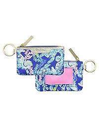 Lilly Pulitzer 证件套钥匙扣钱包带拉链封口,可爱耐用的卡包,适合女士、青少年、女孩