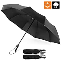 ESEOE 雨伞,旅行防风雨伞,防紫外线户外防水雨伞,紧凑型自动打开/关闭遮阳伞,带黑色防紫外线涂层(10条罗纹)