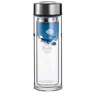LOCK&LOCK 乐扣乐扣 海洋系列双层耐热玻璃水瓶 蓝色 LLG627YEL(亚马逊自营商品, 由供应商配送)