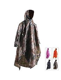 REDCAMP 防水雨斗篷带兜帽和手臂,适合野营徒步,三合一多功能轻质可重复使用雨衣雨衣,男女成人