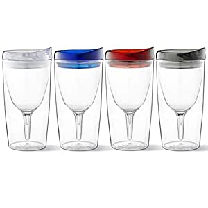 Vino2Go Family 保护性头盔 多色 4 Pack of Wine Tumblers VTGT4PACK