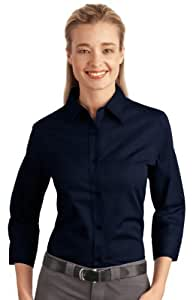 Port Authority® Ladies 3/4-Sleeve Easy Care Shirt. L612 Navy 3XL