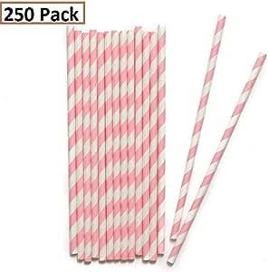 Forever T R 可生物降解纸条吸管 250 个装,白色/灰色 白色/粉色