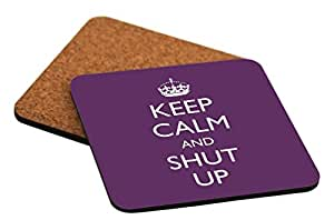 """Rikki Knight """"Keep Calm and Shut Up Purple Color Design"""" Square Beer Coasters"""