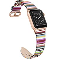 SWEES 皮革表带 适合iWatch 38mm 40mm 超薄时尚优雅真皮表带 适合iWatch 系列 5/4/3/2/1 运动版女款 Colorful Stripes with Rose Gold Connectors