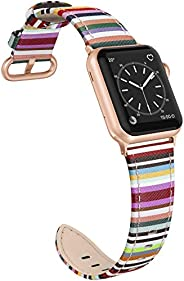 SWEES 皮革表带 适合iWatch 38mm 40mm 超薄时尚优雅真皮表带 适合iWatch 系列 5/4/3/2/1 运动版女款 Colorful Stripes with Rose Gold Connector