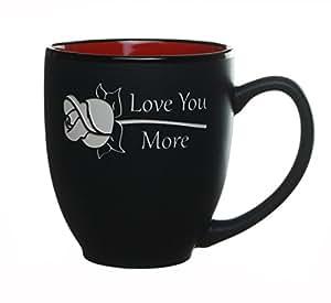 Love You More 字样玫瑰图案,雕刻咖啡色/茶杯/杯子 Celery Street 出品 Bistro Red 14 盎司 43397-24956