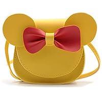 QiMing 小老鼠耳蝴蝶结斜挎包,PU 单肩手提包,适合儿童女孩幼儿