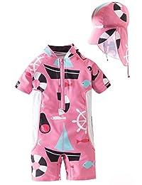 BAOPTEIL 婴儿/幼儿女孩连体拉链泳衣带帽UPF 50+ *婴儿沙滩泳装儿童泳衣