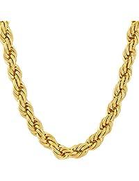 终身珠宝绳链 7MM,24K 钻石切割时尚珠宝项链,黄金或白金半贵金属,嘻哈或经典,40.64-91.44 cm 黄色 白色
