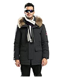 美国UAISI90% 白鹅绒冬季新款男装中长真毛领加厚大码保暖风雪大衣羽绒外套
