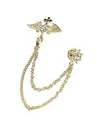 Monrocco 男式西装天使翅膀胸针链风衣十字架胸针复古胸饰