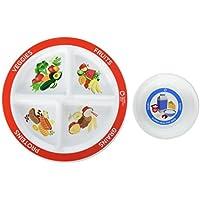 MyPlate 分离式儿童部分盘子加奶碗和家长指南,供取食者使用 白色 COMINHKG023350