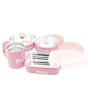 美国进口-Thinkbaby 辛克宝贝 不锈钢儿童餐具4件套(饭盒、汤碗、餐碗、水杯) 喂养套装-粉色