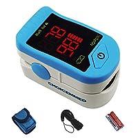 CHOICEMMED 浅蓝色手指脉搏血氧仪 - 血氧饱和度监测仪 - SPO2 脉搏血氧仪 - 带内含电池的便携式氧气传感器 - O2 饱和度监测仪,带便携袋