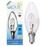 5 x Opus 卤素蜡烛灯暖白色灯泡 - 28W = 40W E14 Ses 小号螺丝盖长寿命可调光灯 - 枝形吊灯