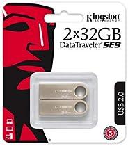 Kingston DataTraveler SE9 -DTSE9H/16十亿字节 闪存盘DTSE9H/32GB-2P Pack of 2 32 GB