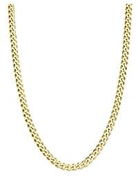 MiaBella 純 18k 金純銀意大利 3.5mm 鉆石切割古巴鏈式項鏈女士男士,40.64 厘米 - 45.72 厘米 - 50.8 厘米 - 55.88 厘米 - 60.96 厘米 - 66.04 厘米 白色