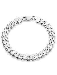 MiaBella 925 纯银意大利 9 毫米实心钻石切割古巴链条手链,19.05 厘米,20.32 厘米,21.59 厘米,21.59 厘米男士珠宝 白色