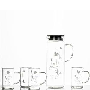 日本RULIO耐高温玻璃水壶套装RMDS-4C(一壶四杯 日本HARIO副牌)(亚马逊自营商品, 由供应商配送)