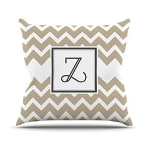 Kess InHouse KESS 原创交织字母 V 形棕褐色字母 Z 户外抱枕,50.8 x 50.8 厘米