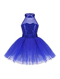 Freebily 女孩闪亮亮片吊带紧身连衣裤运动芭蕾舞短裙舞蹈服