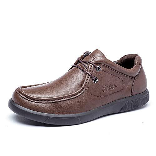 CELE/策乐 青年男士商务光面宽脚皮鞋 春季日常休闲系带细腻牛皮鞋防滑结实耐磨 偏大一码