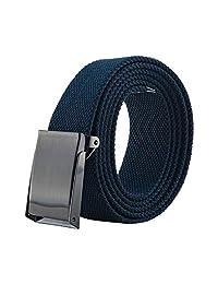 E-Living Store 完全可调男士*风格帆布腰带带棘轮扣(多种颜色可选,尺寸46 英寸和 56 英寸长),