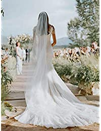 """Unsutuo 婚礼头纱梳新娘大教堂头纱 1 层头纱 婚礼水钻新娘发梳 118 英寸 118""""Width"""