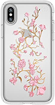 Speck Products Presidio Clear + iPhone X 印花手机壳103136-5754 Presidio Clr + Print 均码 Goldenblossoms Pink/Clear