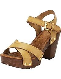 Cambridge Select 女式复古 70 年代铆钉洞洞交叉系带粗跟厚底粗跟凉鞋