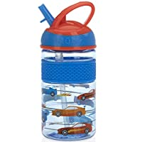 Nuby Thirsty 儿童可翻转 Free estyle On the Go 水瓶,配有防咬硬吸管杯和易握带 Blue Cars 12 盎司