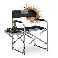 Relaxdays 可折叠野营椅,花园,节日和钓鱼,侧托盘带饮料架,黑色