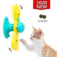 RIGHT+LEFT 趣味风车猫玩具,互动转盘测试玩具带吸盘,按摩咀嚼划伤猫咪,含猫咪猫咪、LED 球和猫薄荷球 多色