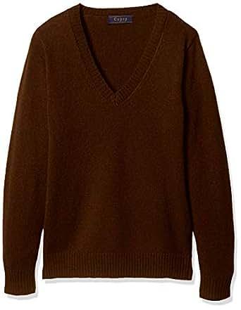 Cu-pop 毛80% 保暖V领针织毛衣(学校·制服) TB-1931 女孩 棕色 日本 L (日本サイズL相当)