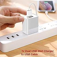 适用于 Onn 安卓 8 英寸,10.1 英寸平板电脑双 USB 端口墙壁家庭交流充电器带 USB 电缆