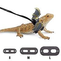 POLKASTORE CHICKUSTORE 胡须龙胸背带和牵引带可调节(S,M,L,3件装)- 柔软皮革爬行动物蜥蜴皮带,带凉爽翅膀,适合两栖动物和其他小型宠物